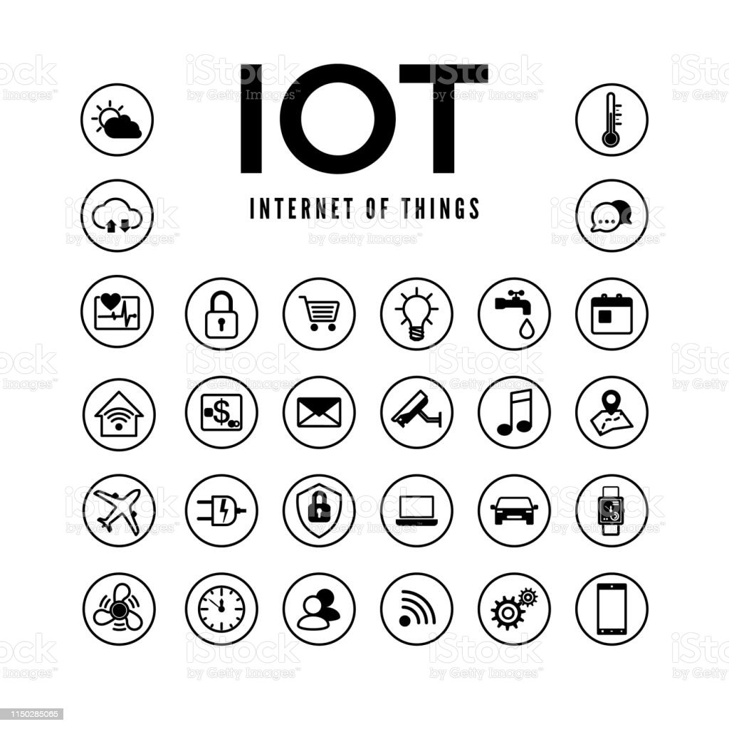 Iot Icons Set Internet Of Things Pictogram Collection