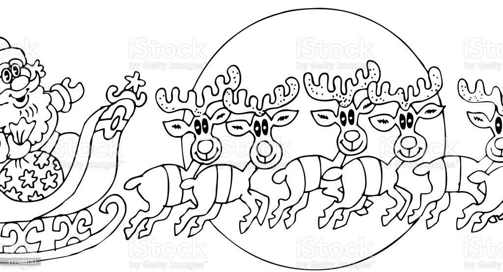 Ilustrado Livro De Colorir Página De Uma Cena De Natal Com