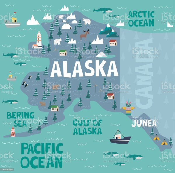 Illustrated Map Of The State Of Alaska In United States
