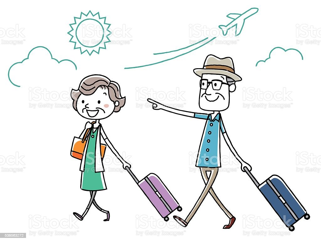 royalty free older couple vacation