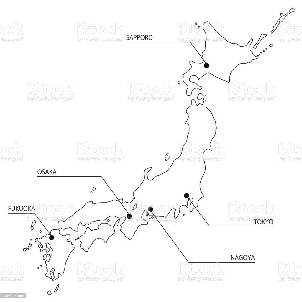 Illustration Of A Simple Japan Map Stock Illustration