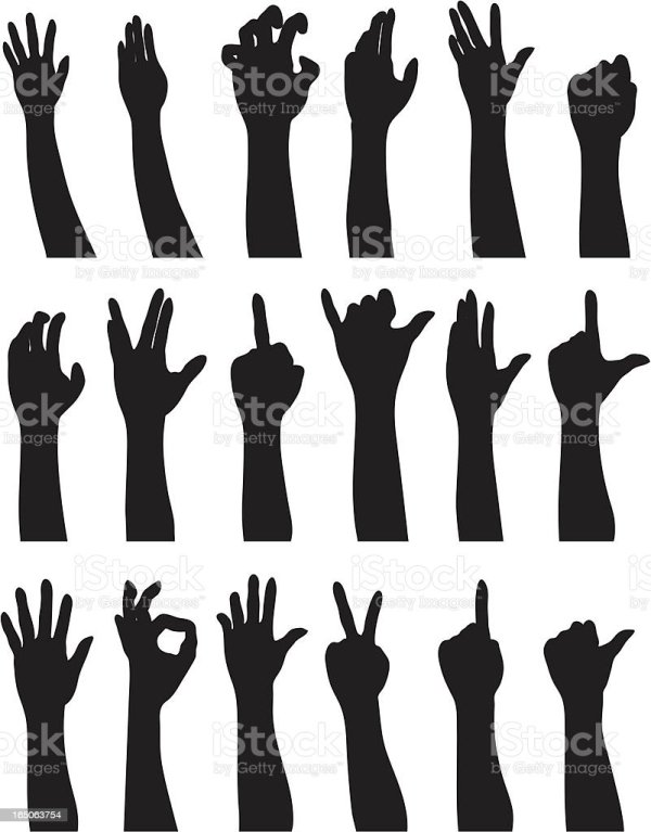 Illustration Of Black Hand Silhouette Showing Different