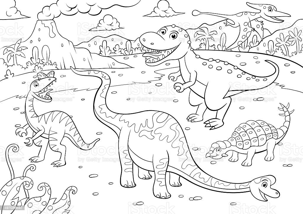 Illustration Of Cute Dinosaurs Cartoon Character For