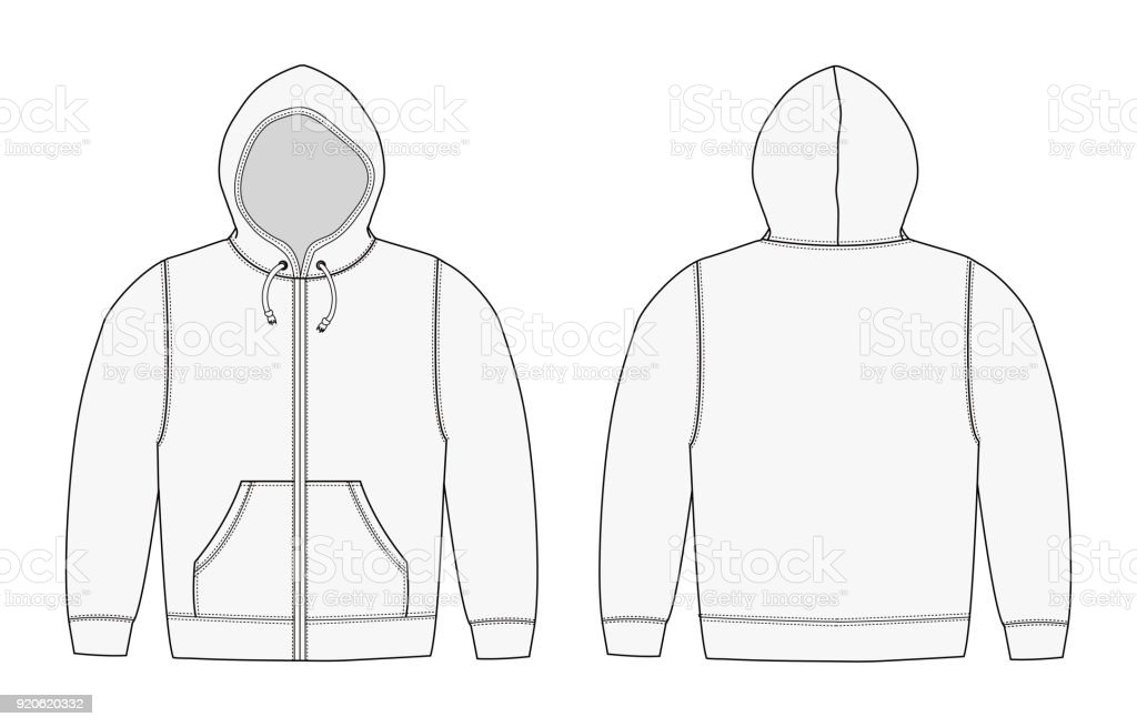 Illustration Of Hoodie Zip Up Parka White Stock Vector Art