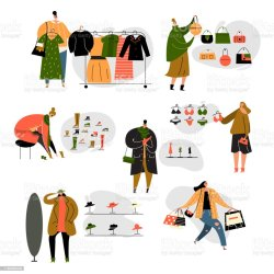 Illustration Of Women Doing Shopping In Clothes Store Vector Set Stock Illustration Download Image Now iStock