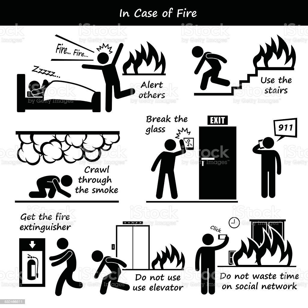 Ilustración de En Caso De Incendio Plan De Emergencia De