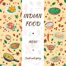 food background menu indian restaurant vector banner spices graphics cuisine vegetables drawn asian hand illustration backgrounds os dishes cafe sketch