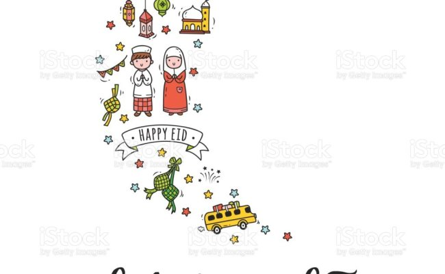 Indonesian Idul Fitri Greeting Card In Doodle Stye With