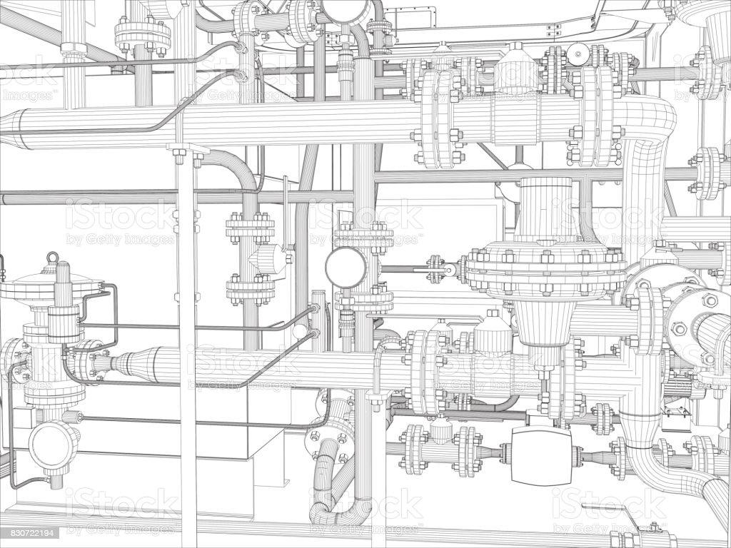 Industrial Equipment Wireframe Render Stock Vector Art