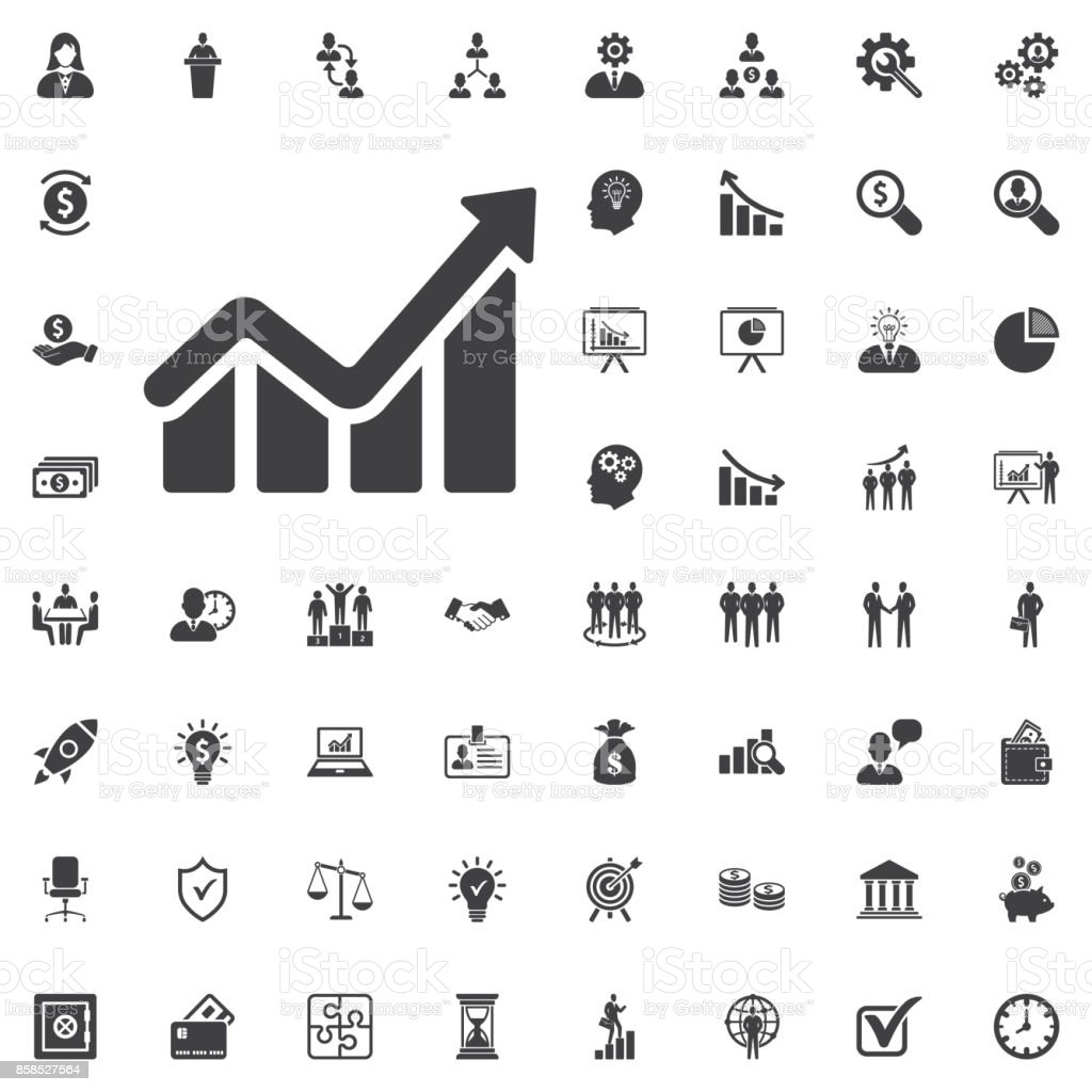 Infographic Chart Icon Growing Graph Simbol Stock Vector