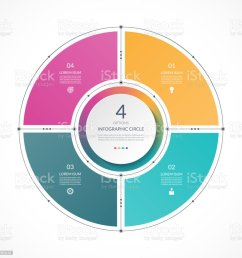 infographic circle in thin line flat style business presentation template with 4 options parts steps can be used for cycle diagram graph round chart  [ 1024 x 1024 Pixel ]