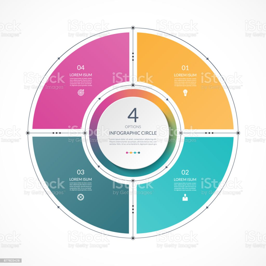 hight resolution of infographic circle in thin line flat style business presentation template with 4 options parts steps can be used for cycle diagram graph round chart