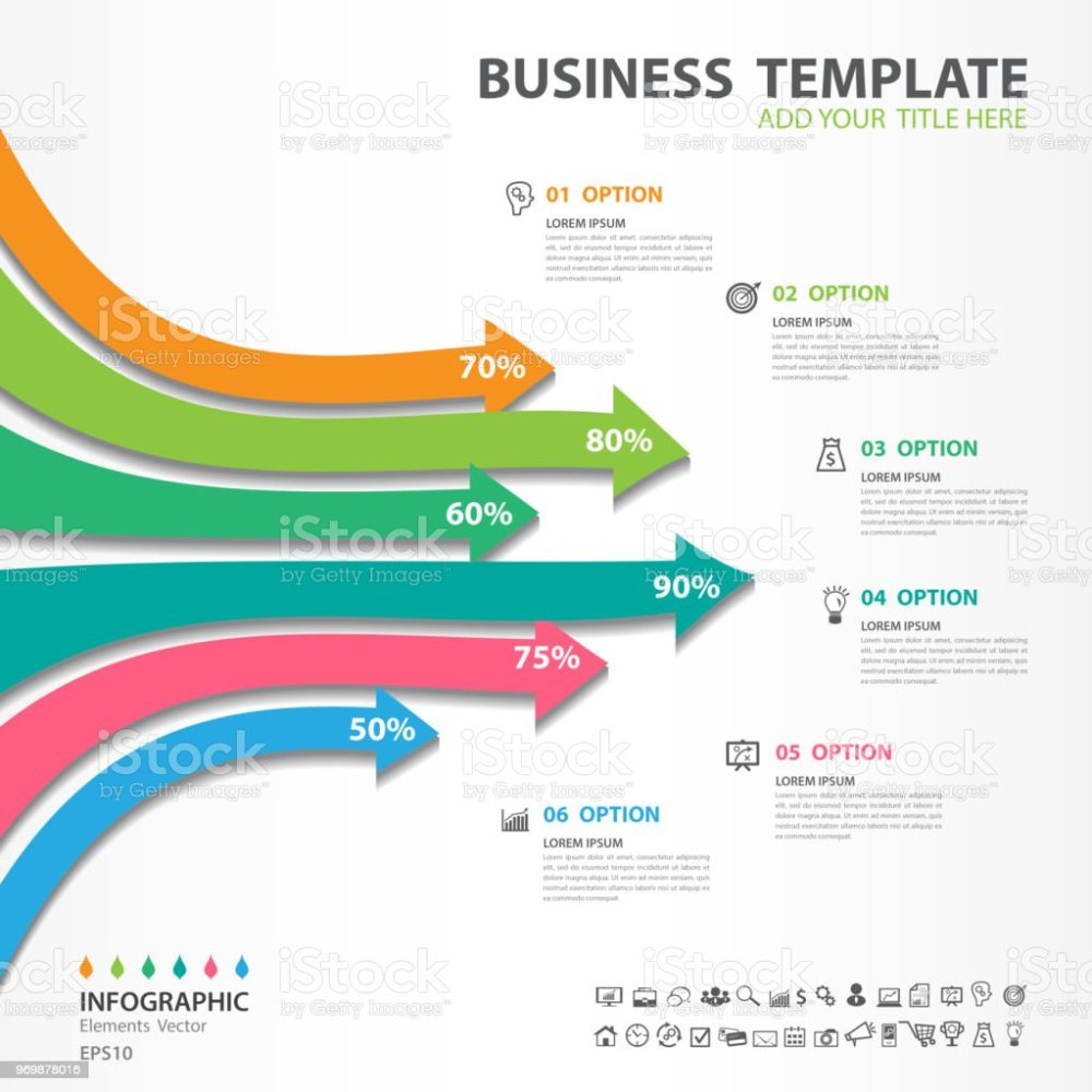 medium resolution of infographic elements template vector 3d arrow diagram with 6 steps flow chart process