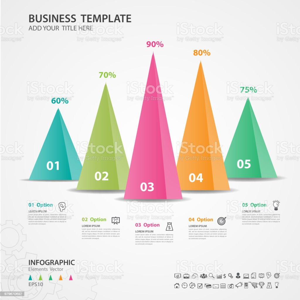 hight resolution of infographics elements diagram with 5 steps options vector illustration pyramid 3d icon