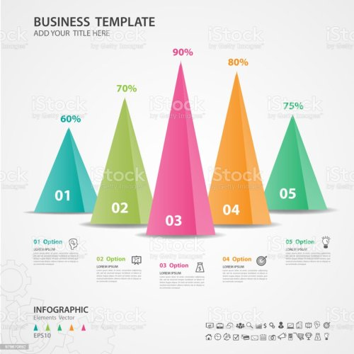 small resolution of infographics elements diagram with 5 steps options vector illustration pyramid 3d icon