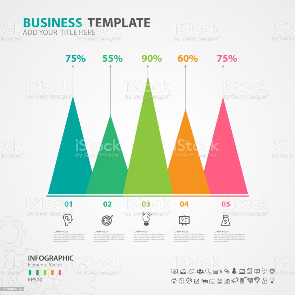 hight resolution of infographics elements diagram with 5 steps options vector illustration pyramid icon presentation