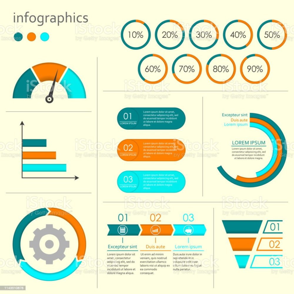 medium resolution of infographics set with charts graphs step by step arrows circle chart cycle
