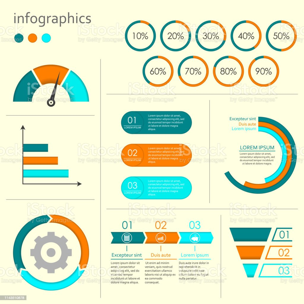 hight resolution of infographics set with charts graphs step by step arrows circle chart cycle