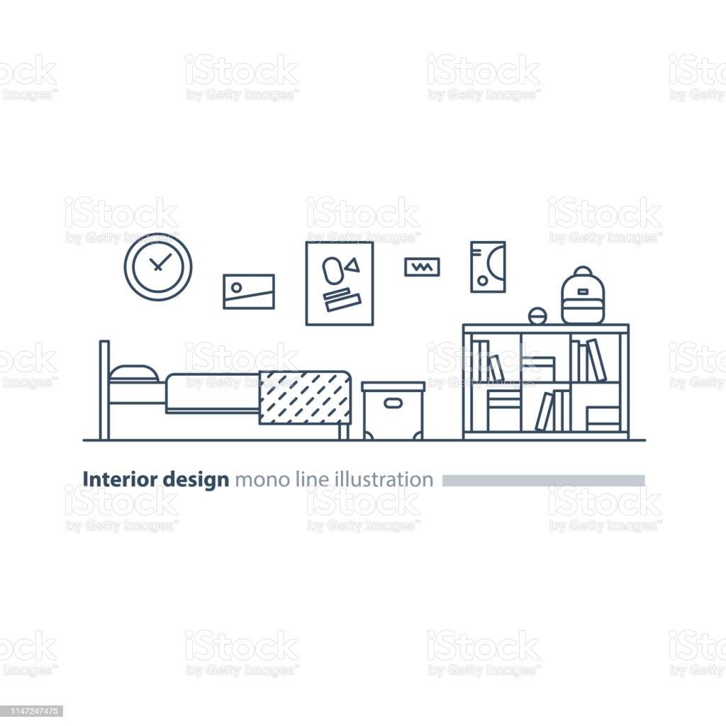 Interior Design Idea Bedroom Furniture Arrangement Plan Bed And Bookcase Stock Illustration Download Image Now Istock