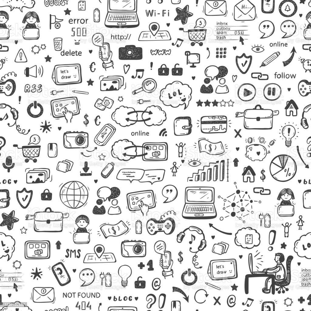 Internet Of Things Background Hand Drawn Doodle Cloud