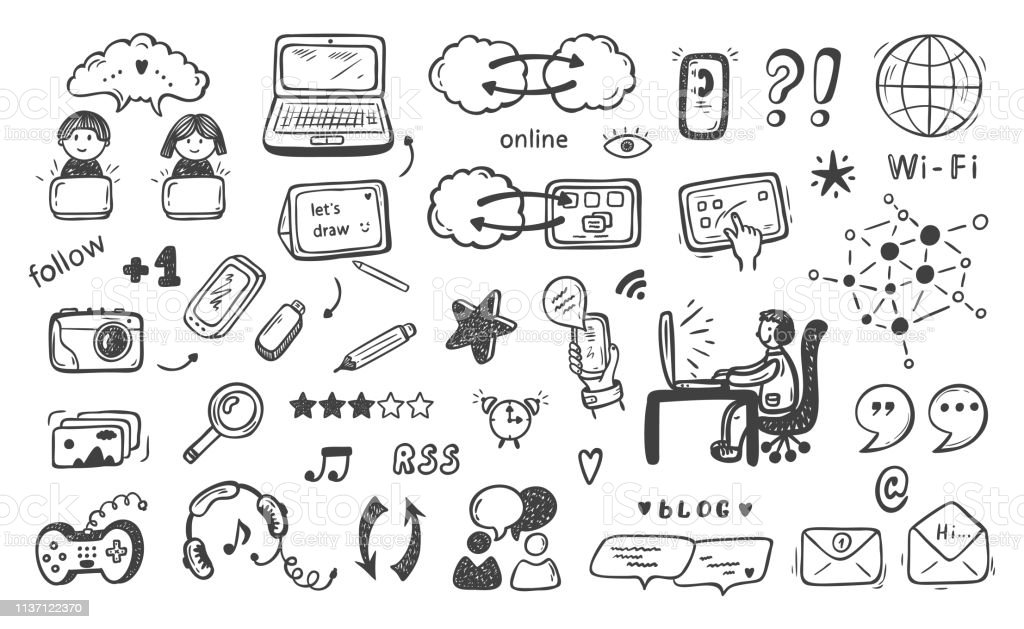Internet Of Things Hand Drawn Doodle Cloud Computing