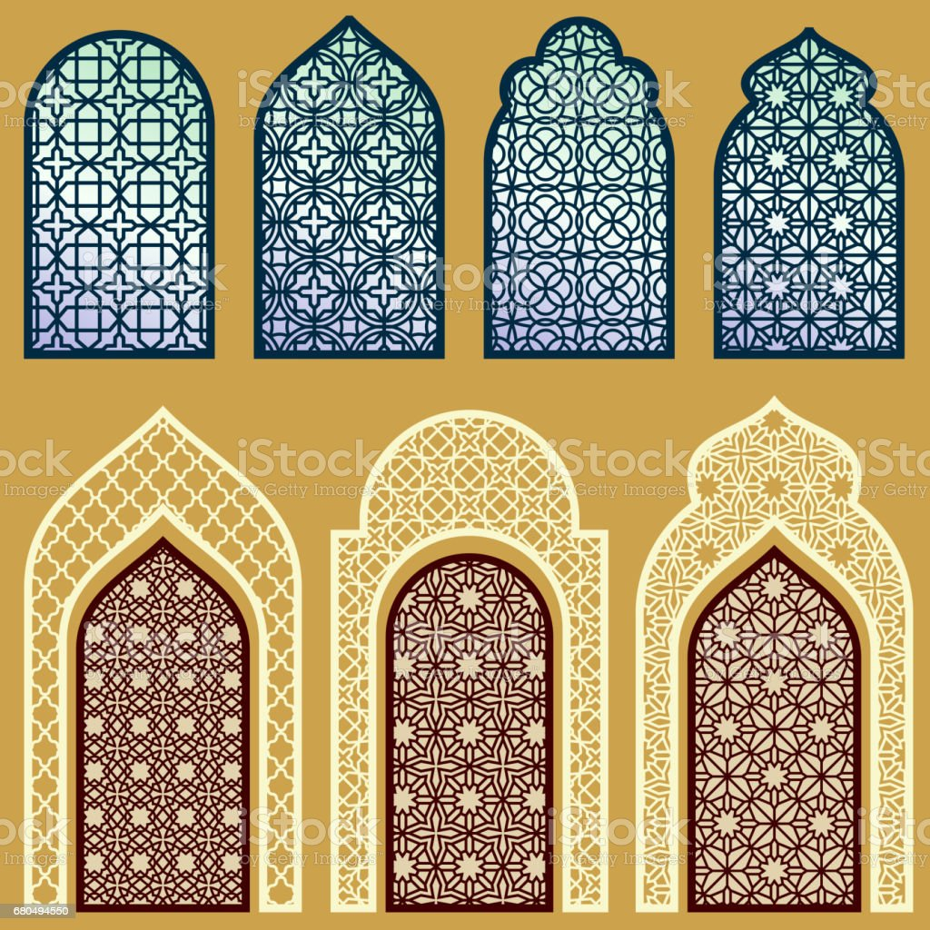 Colc 3d Wallpapers Islamic Windows And Doors With Arabian Art Ornament