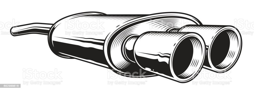 Isolated Monochrome Illustration Of Car Exhaust Pipe Stock