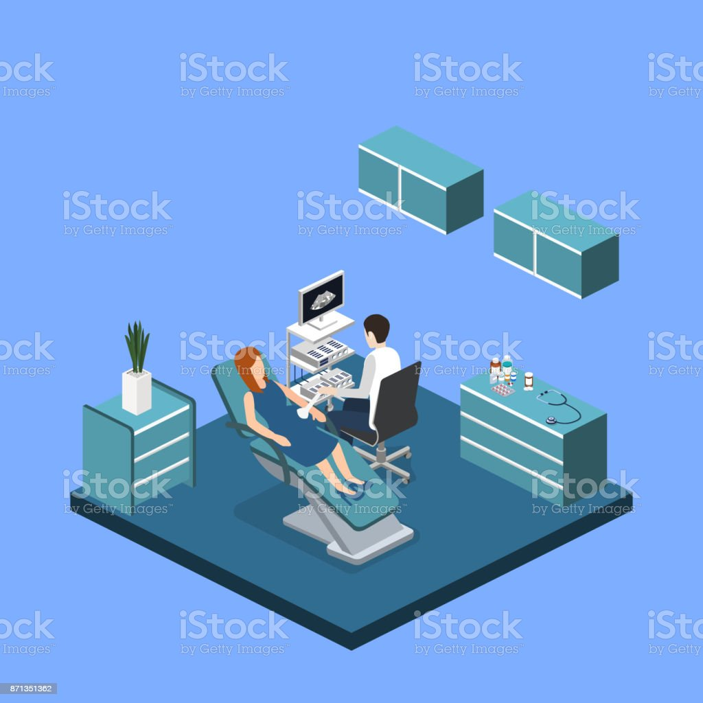 hight resolution of isometric 3d vector illustration pregnant woman at a doctor s appointment illustration