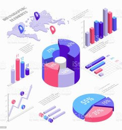 isometric infographic elements with charts diagram pie chart world map with pins and [ 1024 x 1024 Pixel ]