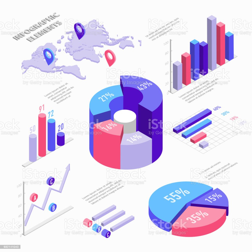 hight resolution of isometric infographic elements with charts diagram pie chart world map with pins and