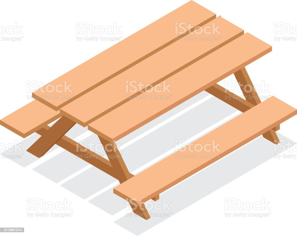 Muebles Bancos Isometric Street Wooden Table With Benches 3d Vector Outdoor
