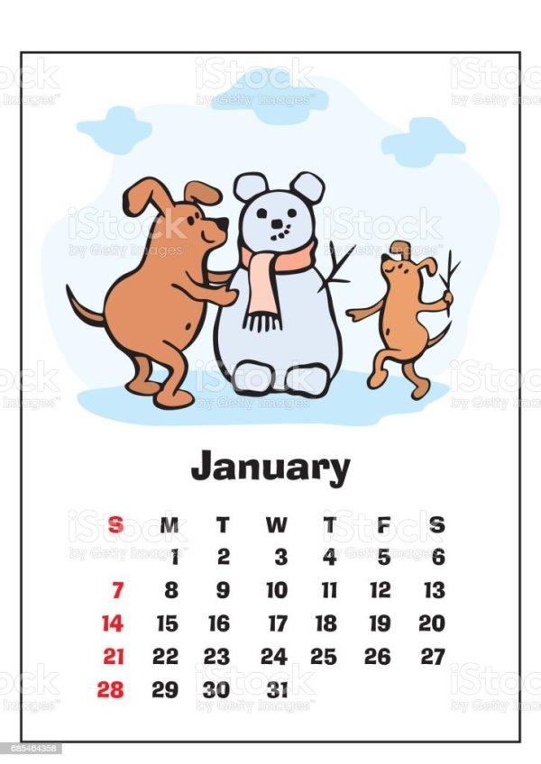 january 2018 calendar stock vector