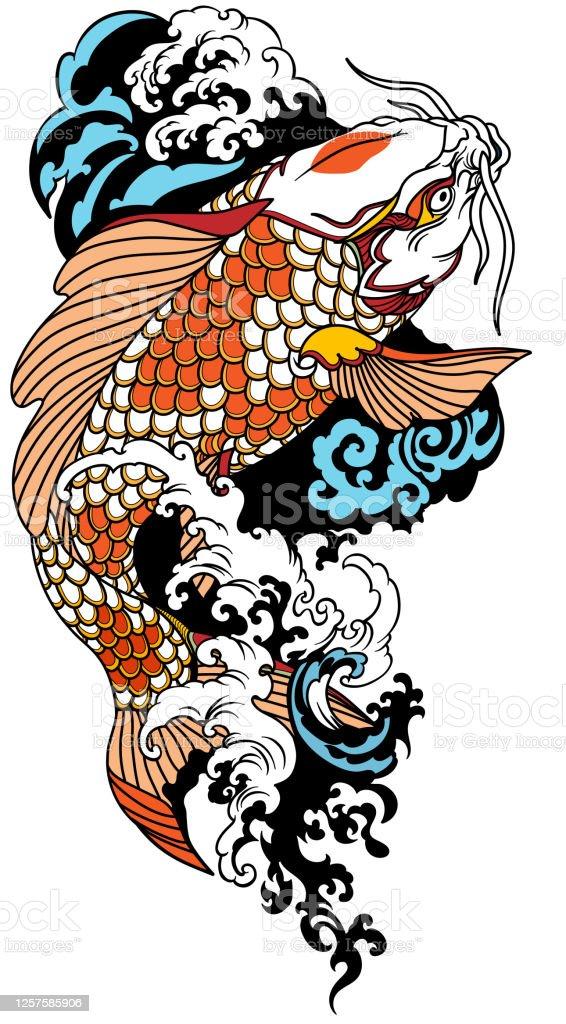 Koi Swimming Upstream : swimming, upstream, Japanese, Swimming, Upstream, Stock, Illustration, Download, Image, IStock