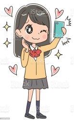 student female clip illustrations japanese vector schoolgirl herself cartoons