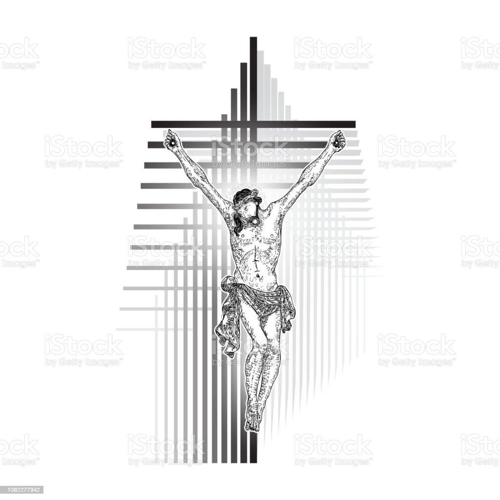 Ilustración De Crucifixión De Cristo Jesús En Moderno Geométrico