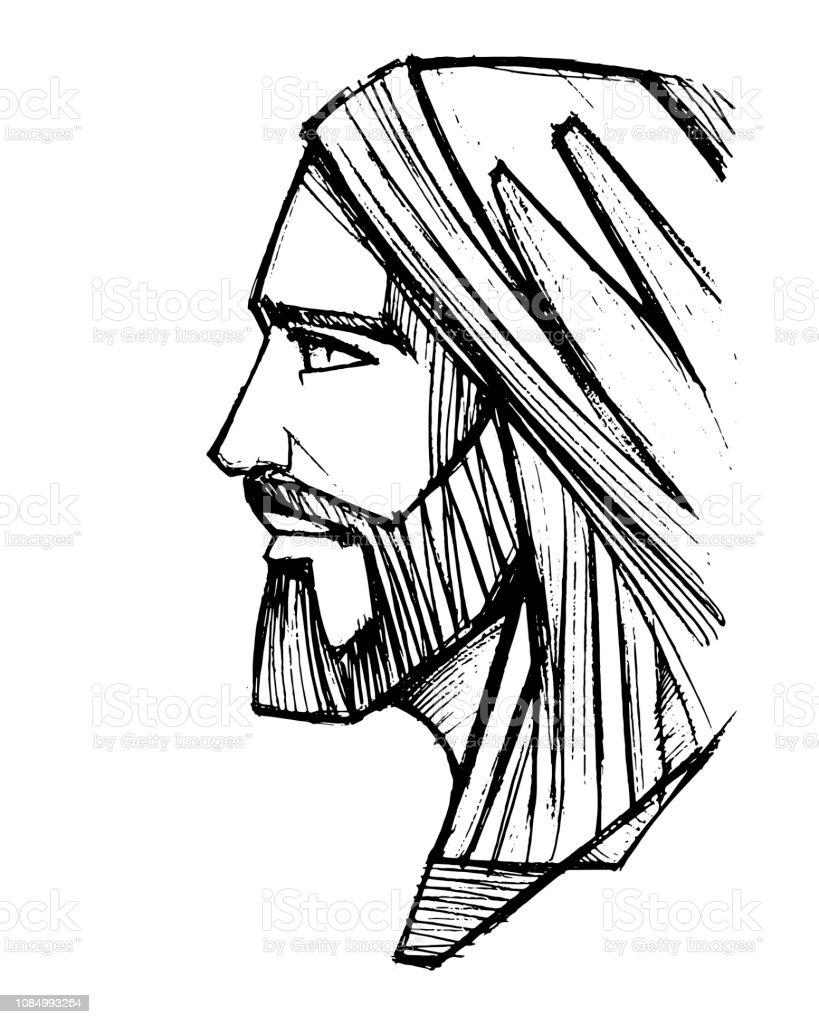 Jesus Face Outline : jesus, outline, Jesus, Illustrations, IStock