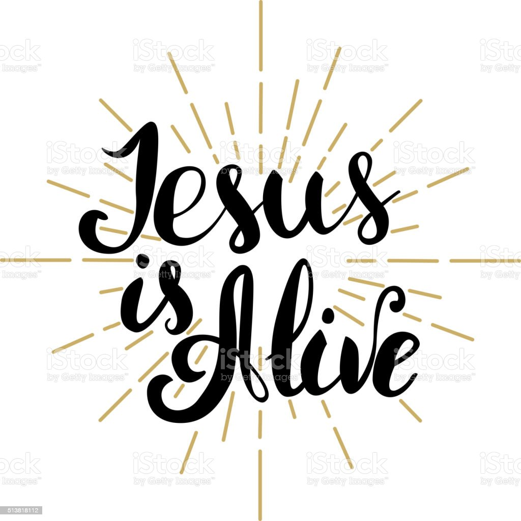 Jesus Is Alive Happy Easter Easter Greeting Card Template Vec Stock Vector Art More Images Of