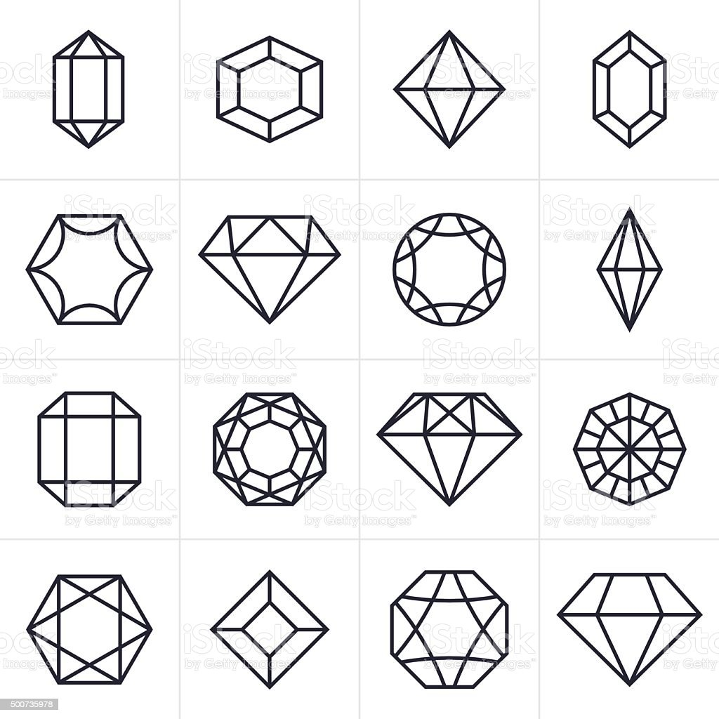 Jewel And Gem Icons And Symbols Stock Illustration