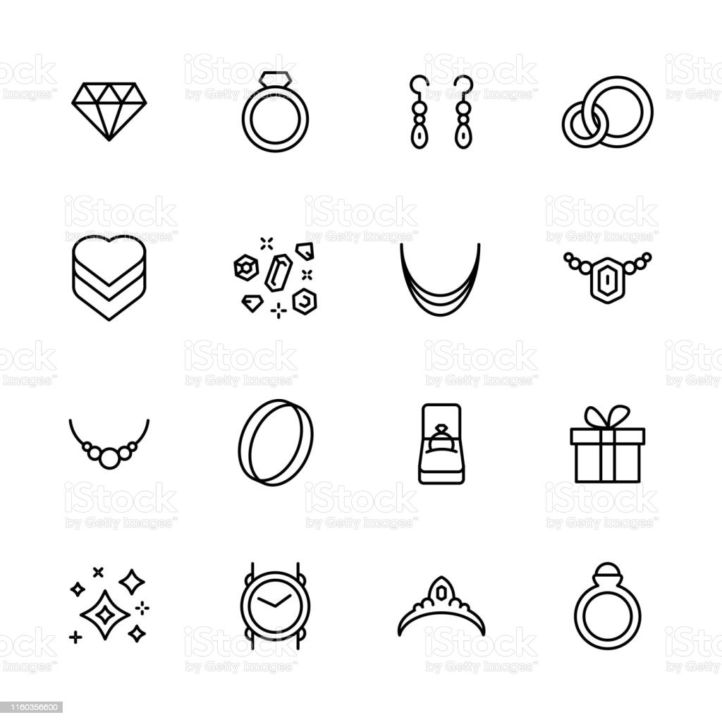 Jewelry And Bijouterie Icon Simple Symbols Set Contains