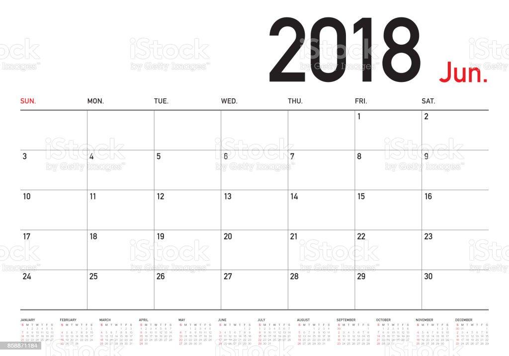 6 月 2018年日曆策劃人向量圖 向量插圖及更多 2018 圖片 858871184   iStock