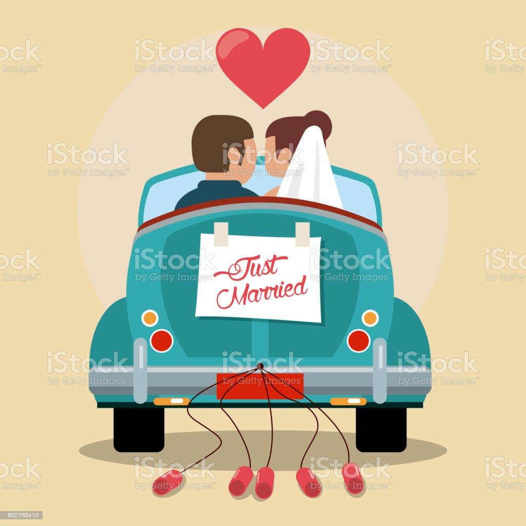 Frisch Verheiratete Paar In Liebe Auto Stock Vektor Art