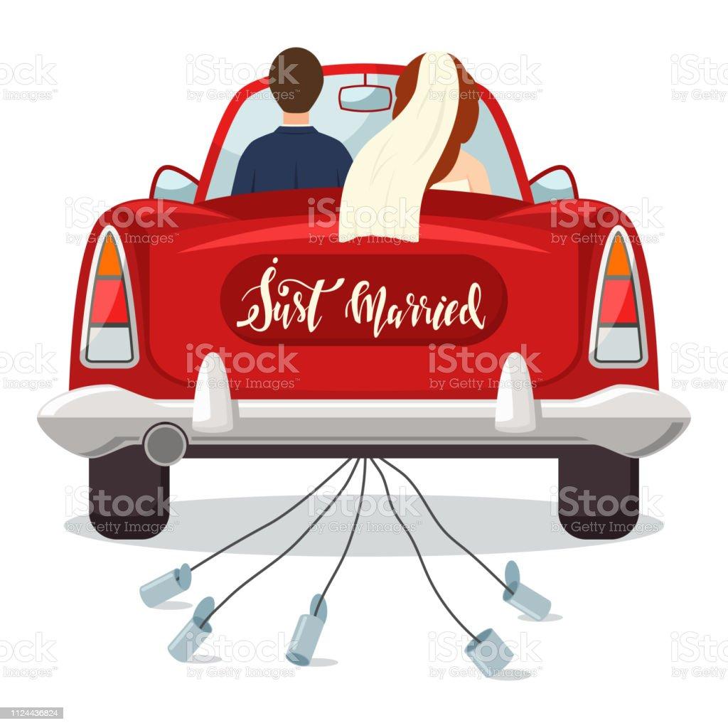 Best Just Married Car Illustrations RoyaltyFree Vector