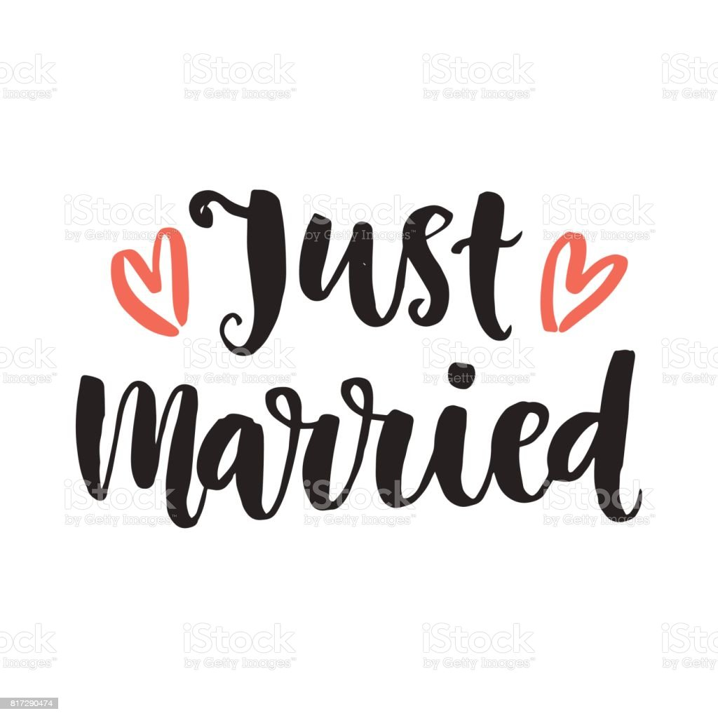 Just Married Wedding Day Invitations Lettering Stock Illustration  Download Image Now  iStock