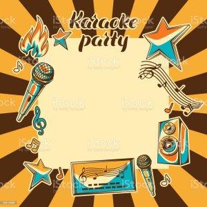 karaoke screen clip vector illustrations background illustration party graphics cartoons