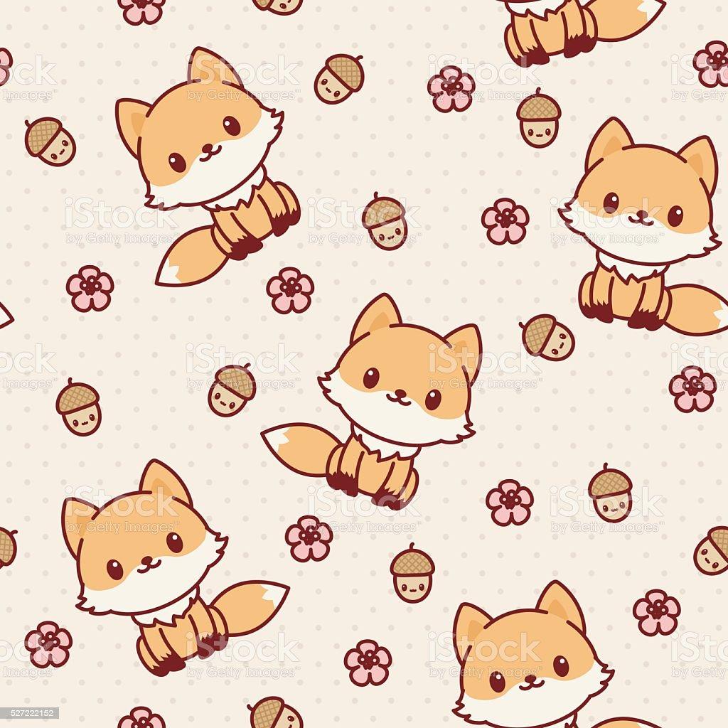 Image of: Kawaii Cute Kawaii Fox Seamless Wallpaper Vector Pattern Vector Art Illustration Hackcheaty Royalty Free Kawaii Animals Clip Art Vector Images Illustrations