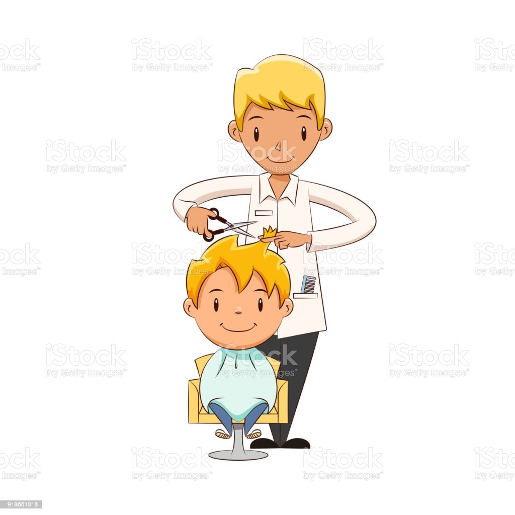 kid haircut stock illustration