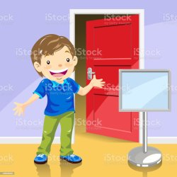 Kid Close The Door Clipart