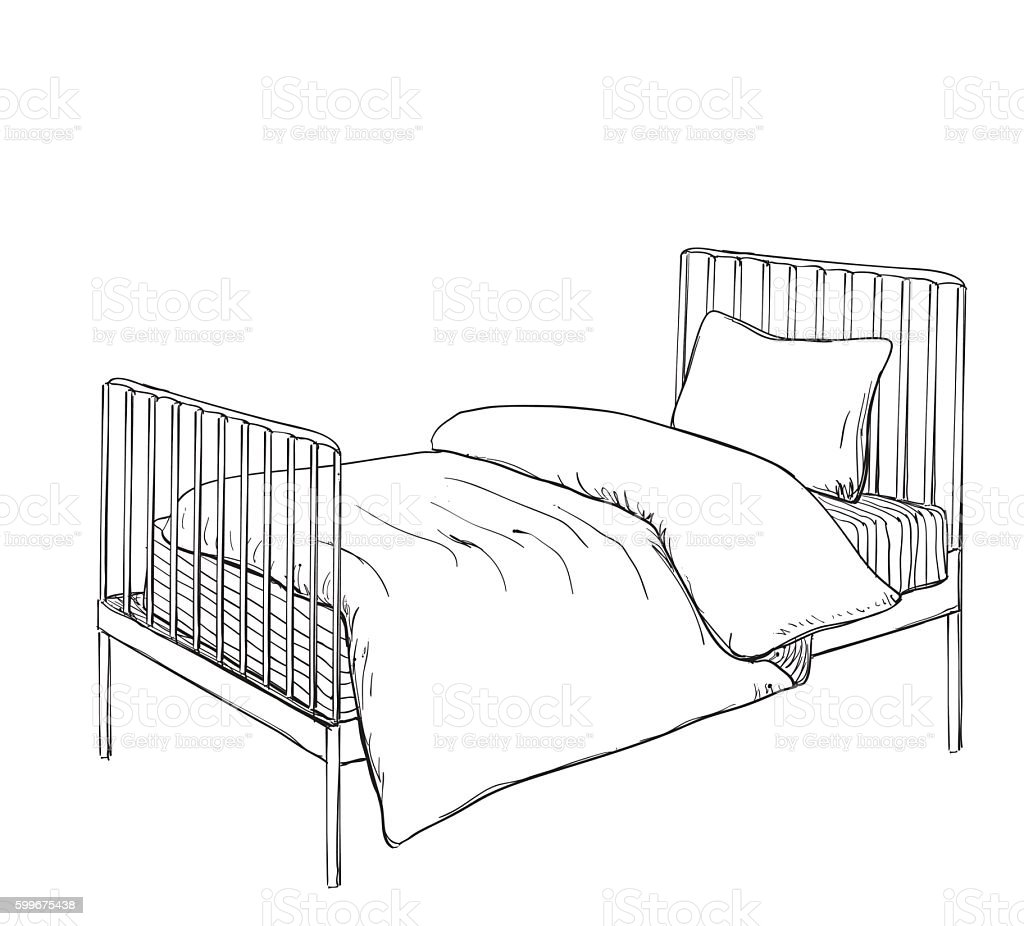 Kids Bunk Bed Doodle Style Sketch stock vector art
