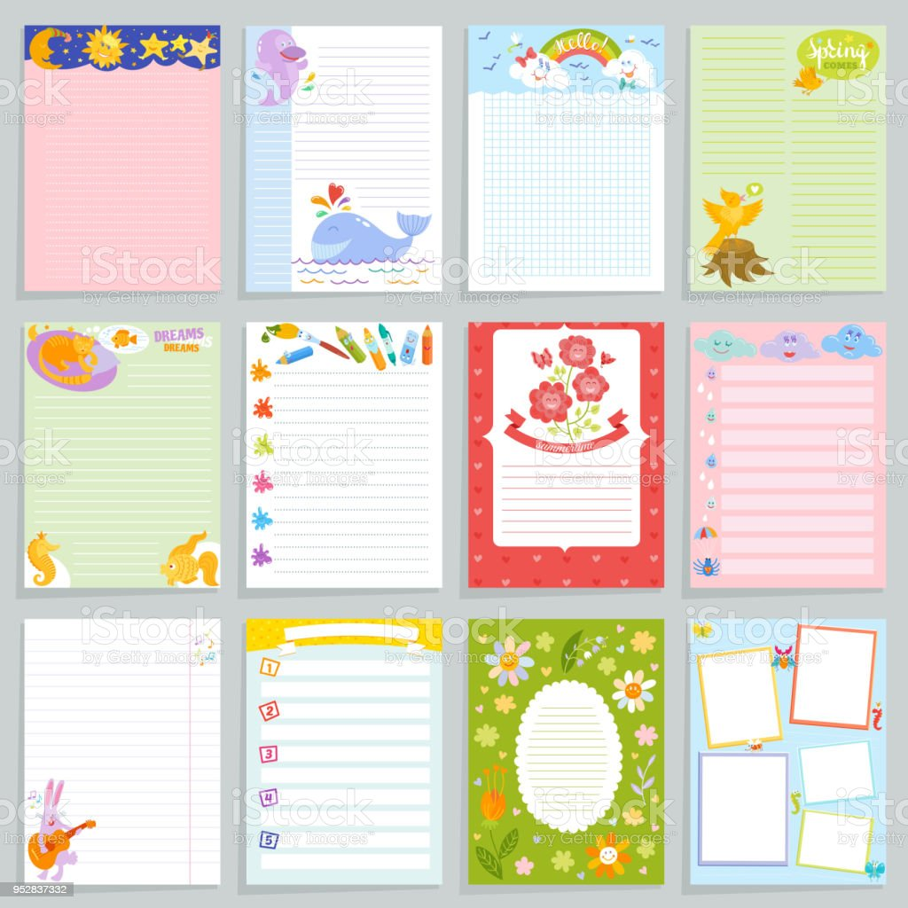 Kids Diary Vector Childish Notebook Blank And Childly Page Template Of  Children Book For Notes Or