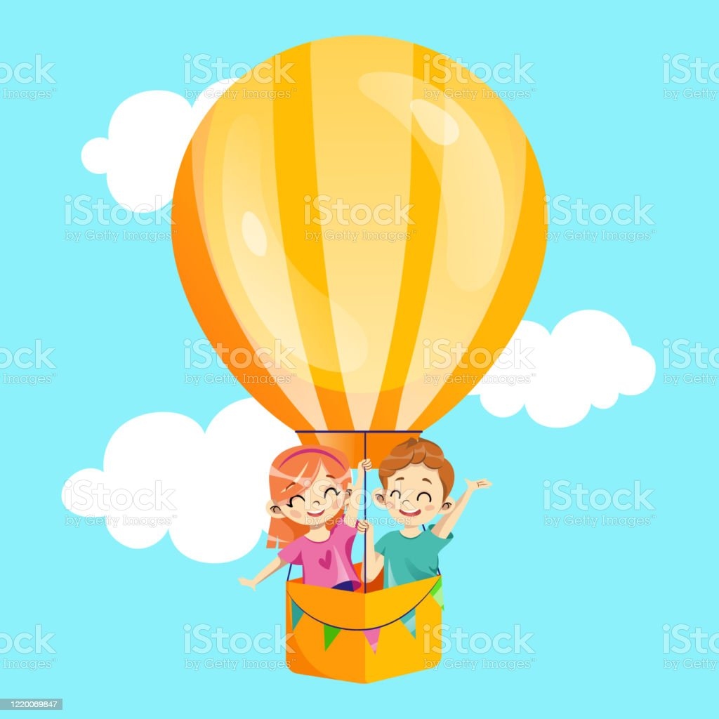 kids party invitation concept happy young smiling girl and boy are flying on hot air balloon among the clouds birthday party invitation kids event template cartoon flat style vector illustration stock illustration